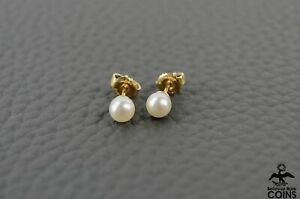 Mikimoto Cultured Pearl 18K Yellow Gold Classic Small Stud Earrings