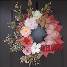 "20"" Wonderful Unique Handmade Pink Rose Wreath - Sweet GREAT GIFT"