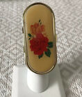 Vintage oval adjustable Floral Lipstick ring with Locket mirror Size 7-8