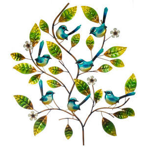 Blue Wren Tree with Flowers Metal Hanging Wall Art Sculpture Home Garden 74 cm