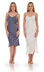 Ladies SECONDS Satin Chemise Camisole Underskirt Anti Static Petticoat Full Slip