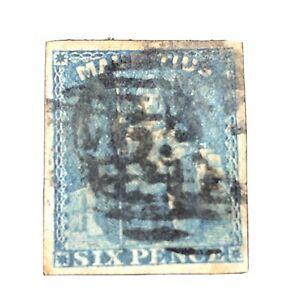 MAURITIUS, SCOTT # 18, 6p. VALUE BLUE 1859 BRITANNIA .IMPERFORATE ISSUE USED