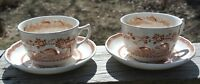 """Set of 2 Furnival Ironstone Brown Quail Cups and Saucers Made in England """"A"""""""