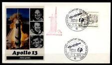 Apollo 13. Zum Mond, Start 11.4.1970, Astrophilatelie. SoSt, Frankfurt. BRD 1970