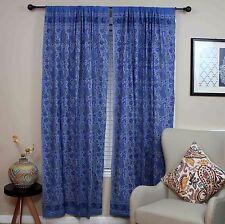 Handmade Cotton Rajasthan Paisley Floral Print Curtain Drape Panel Blue 47x85