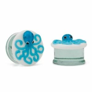 "Pair of 2g–1"" Double Flared Blue Octopus Soda-Lime Glass Ear Plug"