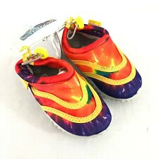 Frisky Toddler Boys Girls Water Shoes Slip On Drawstring Tie Dye Colorful Size 7