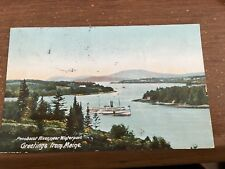 1907 Greetings from Maine, Penobscot River near Winterport Postcard