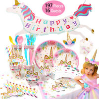 Unicorn Birthday Party Supplies Tableware Banner Children Baby Shower Decoration