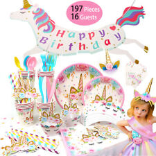 Unicorn Birthday Party Supplies Tableware Banner Children Baby Shower Decoration