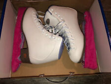 Nice Riedell Women's Ice Skates Model 113 Gr4 White Sz 8 M With Box