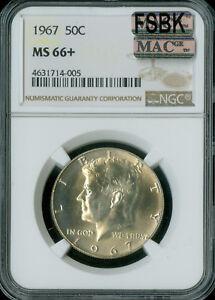 1967 KENNEDY HALF DOLLAR NGC MAC MS66 + PLUS FSBK SOLO POP-1 SPOTLESS  *