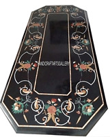 4'x2' Black Marble Dining Table Top Marquetry Work Inlay Art Home Décors H2914