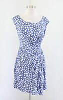 Leifnotes Anthropologie Bird Gulls Printed Ruched Jersey Dress Size XS Blue