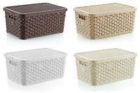 Small 6L Rattan Plastic Storage Box with Lid Mini Stackable Container Boxes