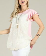 Pink Lace T-Shirt Size 16 Ladies Womens Flutter Sleeve Top