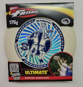 Wham-O Ultimate Frisbee Sports Disc White & Blue 175 gram Brand New
