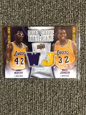 Magic Johnson & James Worthy 2009-10 Upper Deck Dual Game Materials Jersey Relic