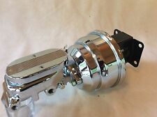 """Jeep CJ Stainless 8""""  Brake booster chrome aluminum flat top master cylinder NEW"""