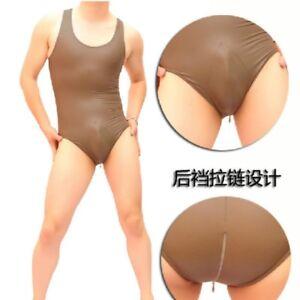 Men Spandex Latex Bodysuit Tops Swimsuit Bikini Leotard Jumpsuit Lingerie Black