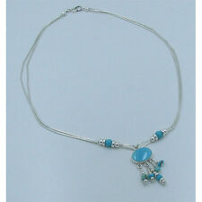 3 Strand 925 Liquid Sterling Silver Natural Mixed Kingman Turquoise Necklace