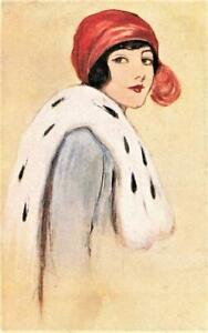 1920's   LADY with red hat Glamour ART DECO Fashion  Postcard