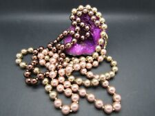 """JOAN RIVERS TRI-COLORED EXTRA LONG PEARL STRAND NECKLACE 62"""" SIGNED STUNNING"""