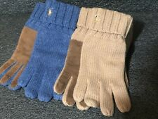 Polo Ralph Lauren Ivory White Cashmere Blend Mens Suede Leather Winter Gloves 2x