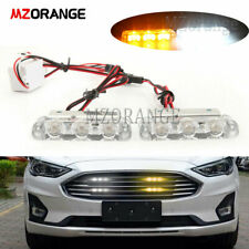 2x 3 LED Car Grille Strobe Flashing Warning Emergency Light Bar Lamp Amber White