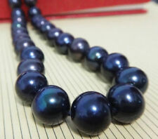 """HUGE 18""""11-12MM ROUND NATURAL SOUTH SEA GENUINE BLACK PEARL NECKLACE 231AAA"""