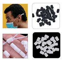 Silicone Cord Locks Adjustable Drawstrings Toggles for Mask Lanyard Black White
