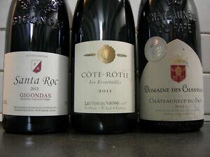 Lot -- Cote Rotie 2011 + Gigondas 2012 + Chateauneuf du Pape 2013 .