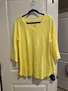 Isaac Mizrahi Live Essentials Pima Cotton Striped Tunic 1x In Lemonade