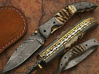 HAND MADE DAMASCUS BLADE FOLDING HUNTING KNIFE WITH REAL LEATHER SHEATH ZM 5073R