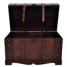 large wooden treasure storage trunk blanket steamer chest vintage antique t5e2