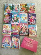 Barbie DVD Lot 14 DVDs & Carry Case That Holds 3 DVDs