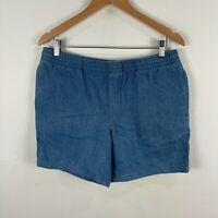 Stussy Mens Shorts 32 Blue Chambray Elastic Waist Pockets
