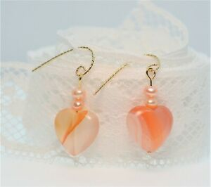 14K Gold Fill Natural Carnelian Heart Freshwater Pearl Earrings Valentine's Day