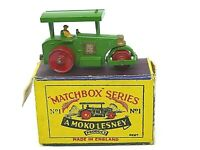 Matchbox Lesney No.1a Aveling Barford Road Roller In Type 'B1' Series MOKO Box