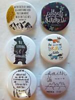 "1.5"" Christian Set #5~ 6-pk Novelty Buttons/Pins: For backpacks, Jackets & More"