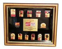 NEW 1992 OLYMPIC BARCELONA FRAMED 13 PIN SET COCA-COLA PHARMOR LIMITED EDITION