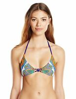 Trina Turk Women's Pacific Paisley Tie-Front Triangle Bikini Top, Multi, 12