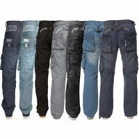 Mens Enzo Jeans Cargo Regular Fit Designer Denim Trousers Pants All Waist 28- 50