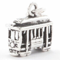 CABLE CAR Charm SAN FRANCISCO STREET California Pendant Sterling Silver 3D 925