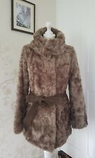 Country Casuals Brown Faux Fur Coat with belt Size 10