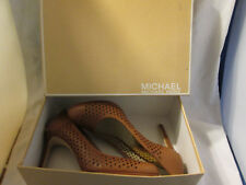 New Michael Kors Florentine Perforated Pumps Luggage Brown Leather 9 M With Box