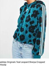 Adidas Original's Teal Leopard Sherpa Crop Hoodie Ladies Size: 18