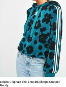 Adidas Originals Teal Leopard Sherpa Cropped Hoodie Ladies Size: 16