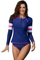 Women Front Zip 2 Piece Long Sleeve Rash Guard UV UPF 50+ Athletic Swimsuit Set