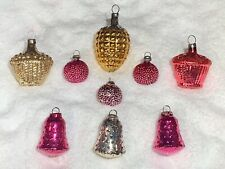 Antique German Figural Glass Christmas Ornament Lot Pinecone Bells